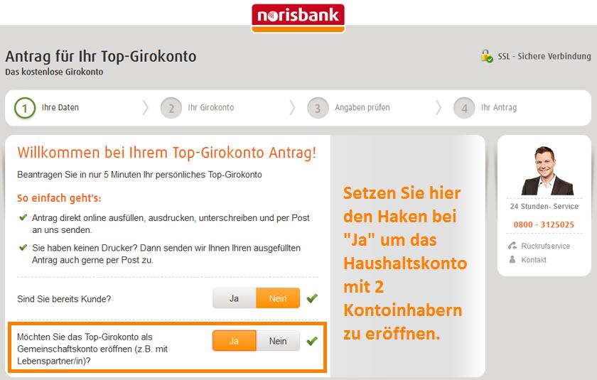 Das norisbank Girokonto als Haushaltskonto eröffnen